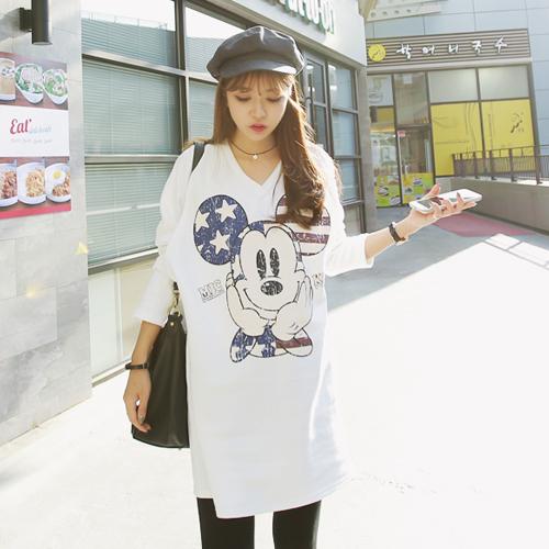 哺乳米奇長板T-Shirt